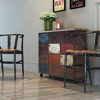 loft工业风桌椅套装3d模型