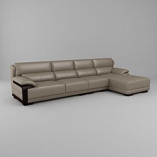 现代休闲转角沙发3d模型