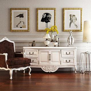 欧式白色实木雕花边柜组合3d模型