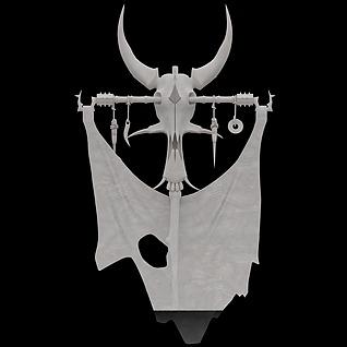 游戏道具装备羊头旗帜3d模型