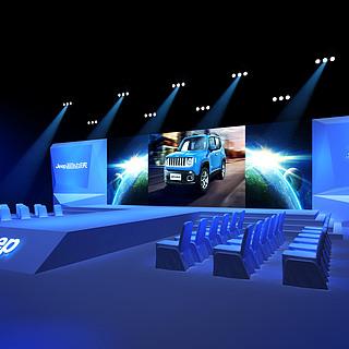 JEEP汽车品牌发布会场景3d模型