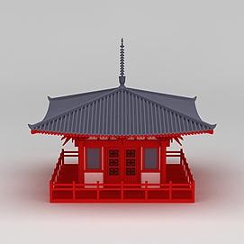 唐风古建筑休息亭3d模型