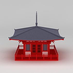唐風古建筑休息亭模型3d模型