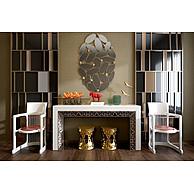现代白色实木雕花桌椅组合3D模型3d模型