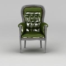 欧式绿色皮沙发椅3D模型3d模型