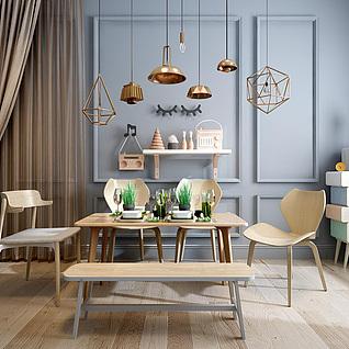 简约实木餐桌餐椅组合3d模型