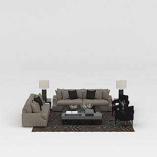 现代灰色布艺组合沙发3d模型