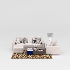 现代米色布艺沙发茶几组合3D模型3d模型