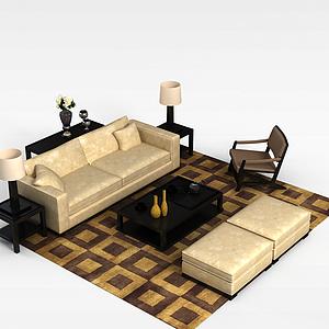 现代米色印花布艺沙发茶几套装模型3d模型