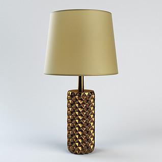 现代金色客厅台灯3d模型