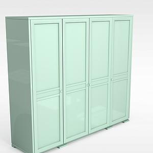 現代四開門綠色衣柜衣櫥