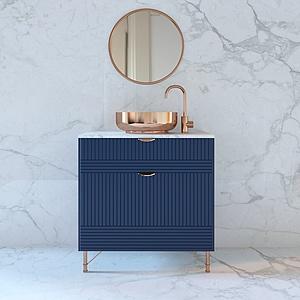 现代蓝色洗手台模型