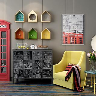 现代黄色布艺沙发边几组合3d模型