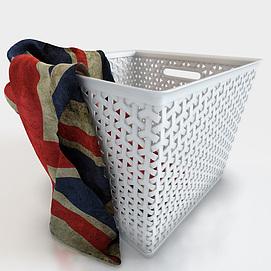 现代白色编织篓脏衣篮模型