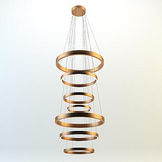 现代圆圈吊灯3d模型3d模型