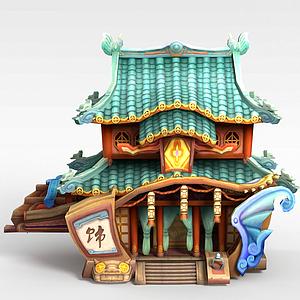游戏场景小楼模型3d模型
