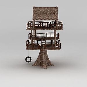 創意三層小樹屋休息亭模型3d模型