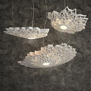 现代白色艺术吊灯3d模型3d模型