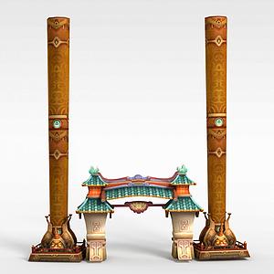 游戏建筑场景牌坊模型3d模型