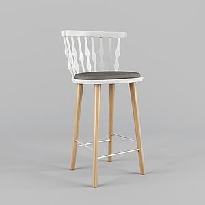 3d北欧高脚休闲椅模型