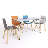 现代透明餐桌餐椅组合图片