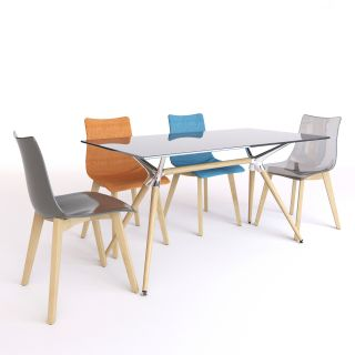 现代透明餐桌<font class='myIsRed'>餐椅</font>组合3d模型