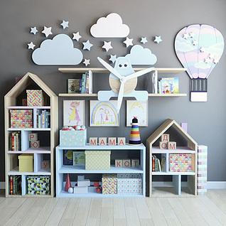 儿童房柜子墙饰组合3d模型
