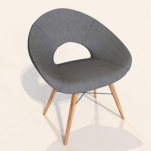 3d北欧灰色?#23478;?#21333;椅模型