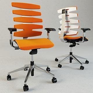 现代橙色办公椅3d模型