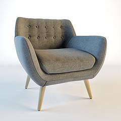 北欧软包?#23478;?#21333;人沙发模型3d模型
