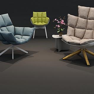 现代软包布艺休闲椅组合3d模型
