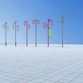 中式路灯模型