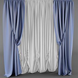 时尚蓝色布艺窗帘模型
