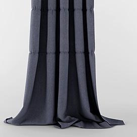 现代灰色布艺窗帘模型