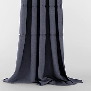 现代灰色布艺窗帘3d模型