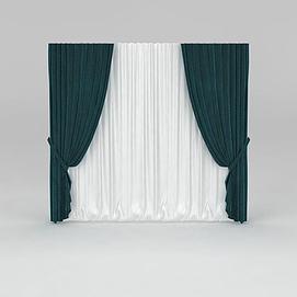 现代拼色窗帘模型