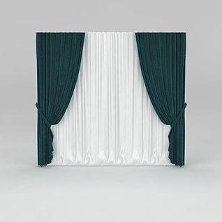 现代拼色窗帘3d模型