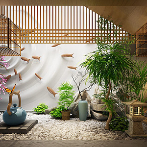 3d庭院裝飾擺件模型