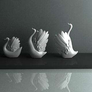 天鹅艺术品3d模型