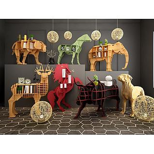 时尚动物造型实木书柜3d模型