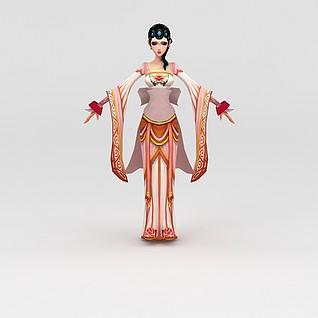 创世西游动漫游戏人物美女3d模型
