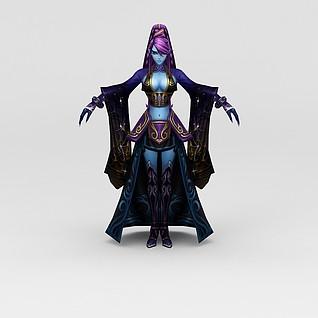 创世西游动漫游戏人物女人3d模型