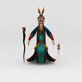 创世西游动漫游戏人物老人3d模型