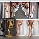 精美绒布窗帘组合模型