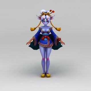 创世西游动漫游戏人物女孩3d模型