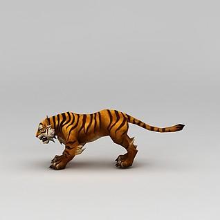 创世西游动漫游戏角色老虎3d模型