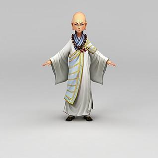 创世西游动漫游戏人物和尚3d模型
