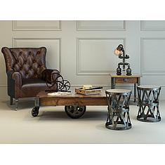 工业风个性皮沙发实木茶几组合3D模型3d模型
