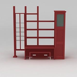 大型红色储物柜3d模型
