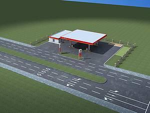 中石油加油站模型3d模型